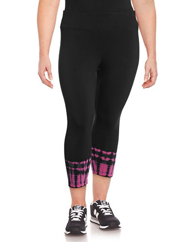 Calvin Klein Performance Plus Tie-Dye Cuff Crop Leggings-PINK-1X 89208456_PINK_1X