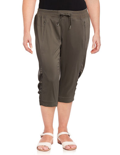 Calvin Klein Performance Plus Banded Bottom Capri Pants-BROWN-1X