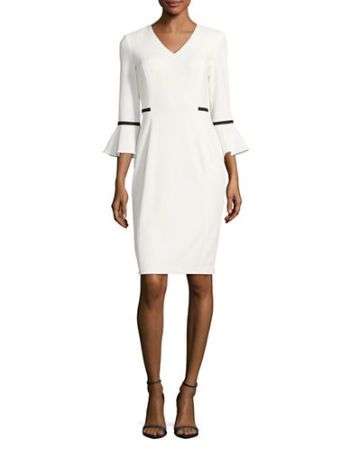 Calvin Klein Flutter-Sleeve Sheath Dress-CREAM/BLACK-10