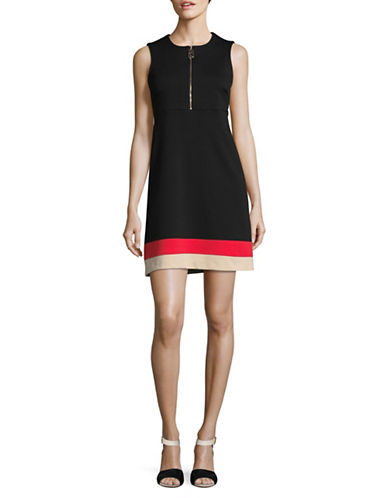 Calvin Klein A-Line Zip Ponte Dress-BLACK/ MULTI-6