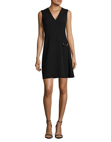 Calvin Klein V-Neck A-Line Dress-BLACK-6