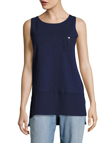 Tommy Hilfiger Vented Mixed Media Tank-BLUE-X-Small 89226859_BLUE_X-Small
