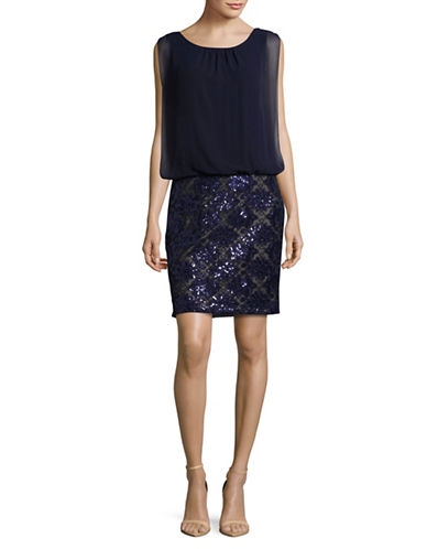 Calvin Klein Sequin Blouson Occasion Dress-BLUE-4
