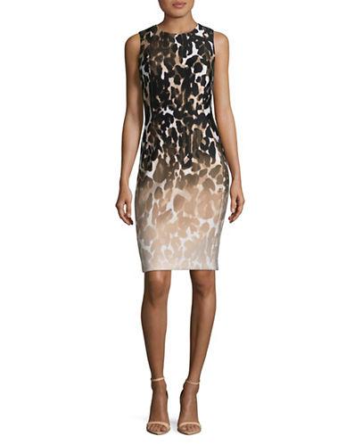 Calvin Klein Leopard Print Sheath-KHAKI/MULTI-10