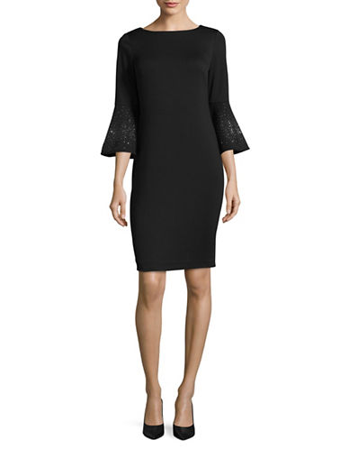 Calvin Klein Embellished Sleeve Shift Dress-BLACK-8