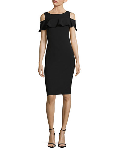 Calvin Klein Cold-Shoulder Crepe Bodycon Dress-BLACK-6