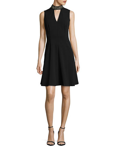 Calvin Klein Studded Choker Neck Dress-BLACK-10