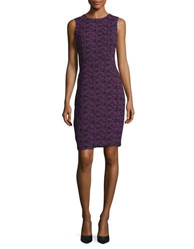 Calvin Klein Jacquard Sheath Dress-AUBERGINE-8