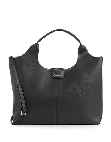 Calvin Klein Unlined Pebbled Tote-BLACK-One Size