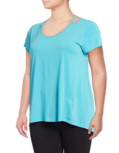 Calvin Klein Performance Plus Marled Cut-Out T-Shirt-BLUE-1X