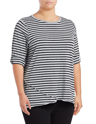 Calvin Klein Performance Plus Stripe Roll-Tab Sleeve Performance Top-GREY-2X