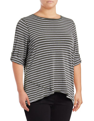 Calvin Klein Performance Plus Stripe Roll-Tab Sleeve Performance Top 89299884