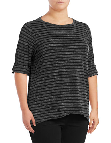 Calvin Klein Performance Plus Stripe Roll-Tab Sleeve Performance Top-CEMENT HEATHER-1X 89299887_CEMENT HEATHER_1X