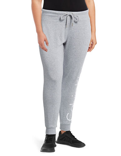 Calvin Klein Performance Plus Quick-Dry Cutoff Logo Jogging Pants-PEARL HEATHER-2X