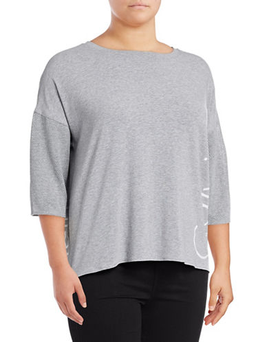 Calvin Klein Performance Plus Hi-Lo Mesh Dolman Tee-PEARL HEATHER-1X