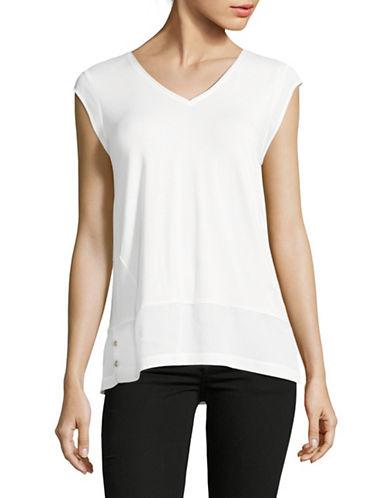 Calvin Klein Mixed Media V-Neck T-Shirt-WHITE-Large 89264390_WHITE_Large