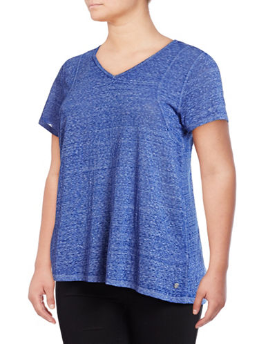 Calvin Klein Performance Plus Space Dye Pleat Back Tee-BLUE-3X 89218571_BLUE_3X