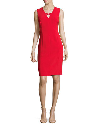 Calvin Klein Sleeveless V-Neck Sheath Dress-FIRE-10