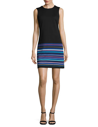 Calvin Klein Block-Stripe Sheath Dress-BLACK/ MULTI-4