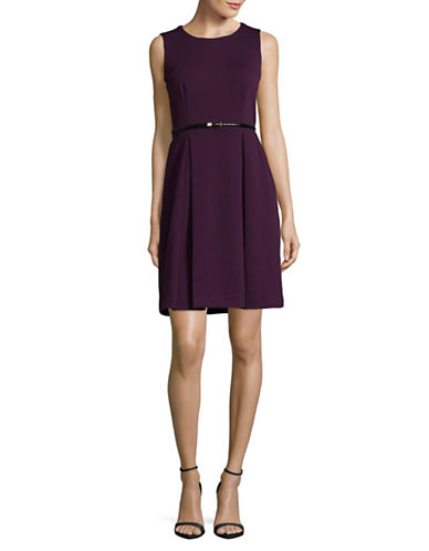 Calvin Klein Sleeveless Belted Fit-and-Flare Dress-AUBERGINE-12