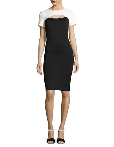 Calvin Klein Colourblock Peep Sheath Dress-BLACK/CREAM-6