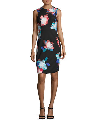 Calvin Klein Sleeveless Floral Print Sheath Dress-BLACK MULTI-6