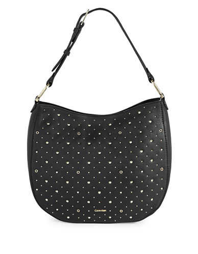Calvin Klein Erica Studded Leather Hobo Bag-BLACK-One Size