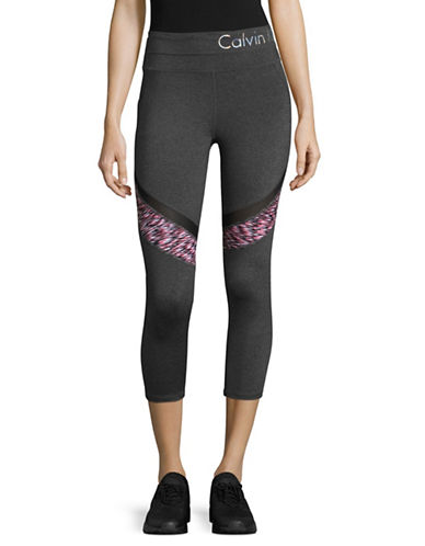 Calvin Klein Performance Spacedye Printed Cropped Leggings-GREY/RED-Small 89323753_GREY/RED_Small
