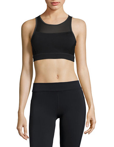 Calvin Klein Performance Mesh Pieced Open Back Sports Bra-BLACK-Large