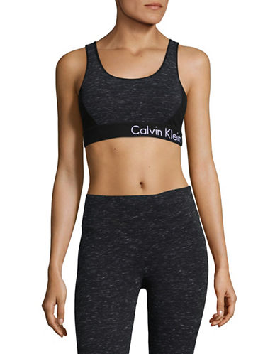 Calvin Klein Performance Lattice Strap Back Sports Bra-GREY-Small