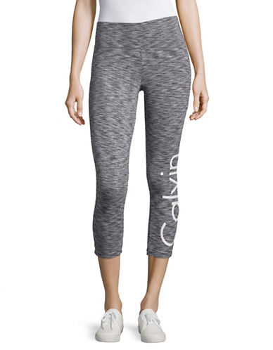 Calvin Klein Performance Spacedye Printed Cropped Leggings-GREY-Large