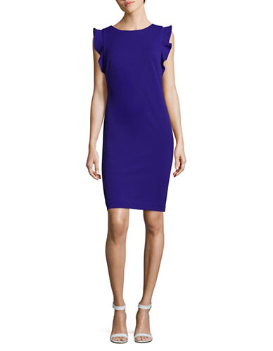 Calvin Klein Ruffle Cap Sleeve Sheath Dress-MARINE-8