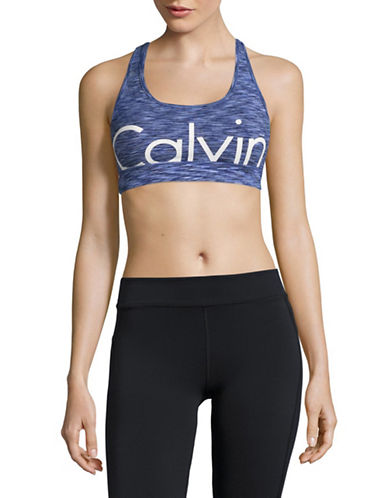 Calvin Klein Performance Pop Space Dye Cutoff Logo Sports Bra-SAPPHIRE COMBO-Small