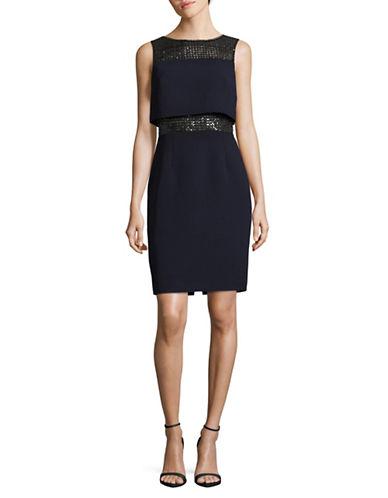 Calvin Klein Sequined Popover Sheath Dress-INDIGO-10