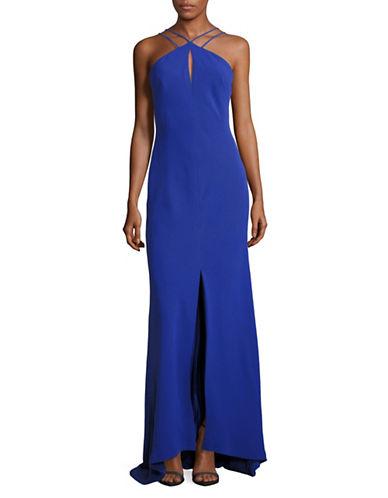 Calvin Klein Strappy Halter Keyhole Gown-BLUE-12