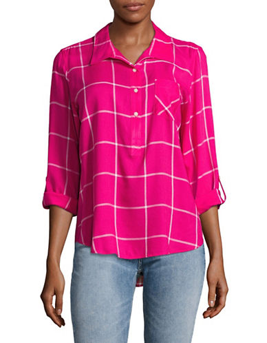 Tommy Hilfiger Grid Check Blouse-PINK-Small