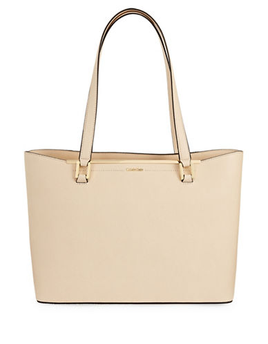Calvin Klein Cindy Saffiano Leather Tote-BEIGE-One Size