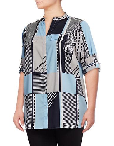 Calvin Klein Plus Printed Roll-Sleeve Shirt-BLUE-1X