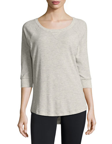 Calvin Klein Performance Raglan-Sleeved Knit Top-BEIGE-X-Small