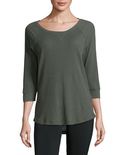 Calvin Klein Performance Raglan-Sleeved Knit Top-GREEN-Large