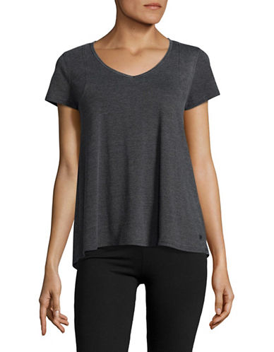 Calvin Klein Performance Space Dye Pleat Back Tee-GREY-X-Large