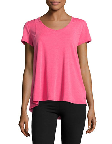 Calvin Klein Performance Space Dye Pleat Back Tee-PINK-Medium