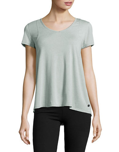 Calvin Klein Performance Space Dye Pleat Back Tee-GREEN-X-Small