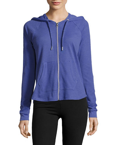 Calvin Klein Performance Ruched-Sleeve Full-Zip Hoodie-HEATHER BLUE-Large 89280160_HEATHER BLUE_Large