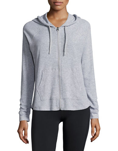 Calvin Klein Performance Ruched-Sleeve Full-Zip Hoodie-PEARL HEATHER GREY-X-Large