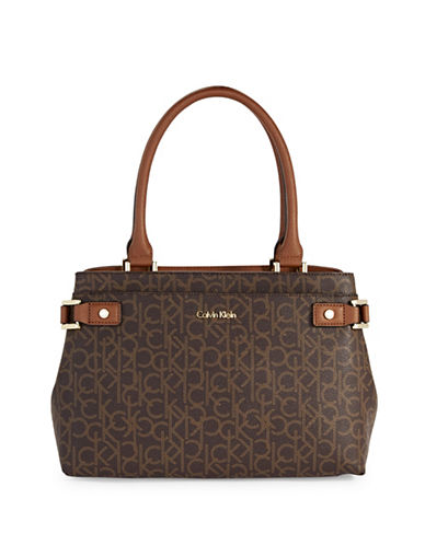 Calvin Klein Dorothy Monogram Satchel-BROWN-One Size