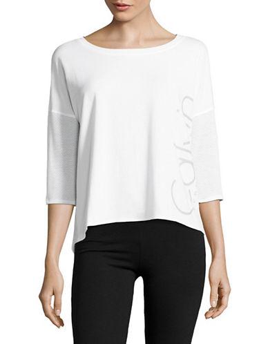Calvin Klein Performance Hi-Lo Mesh Dolman Tee-SUGAR-X-Large
