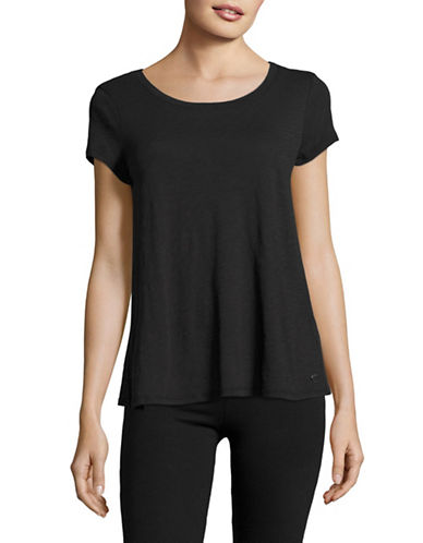 Calvin Klein Performance Crisscross Back T-Shirt-BLACK-Medium