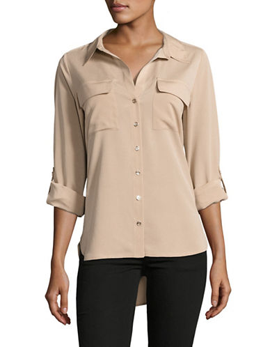 Tommy Hilfiger Button Front Shirt-BEIGE-X-Small