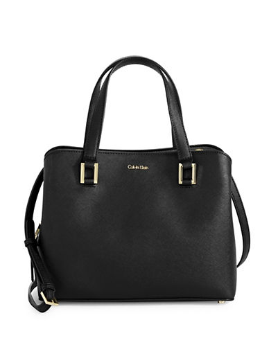 Calvin Klein Cindy Saffiano Leather Satchel-BLACK-One Size